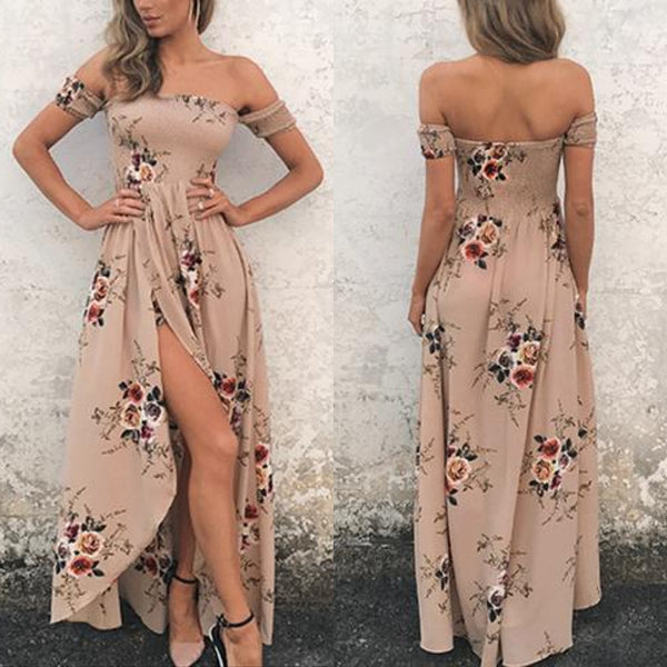 Elegant Khaki Floral Maxi Dress