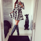 Adorable Checkered Plaid Button Up Dress