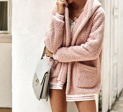 Fluffy Fleece Oversized Hooded Coat