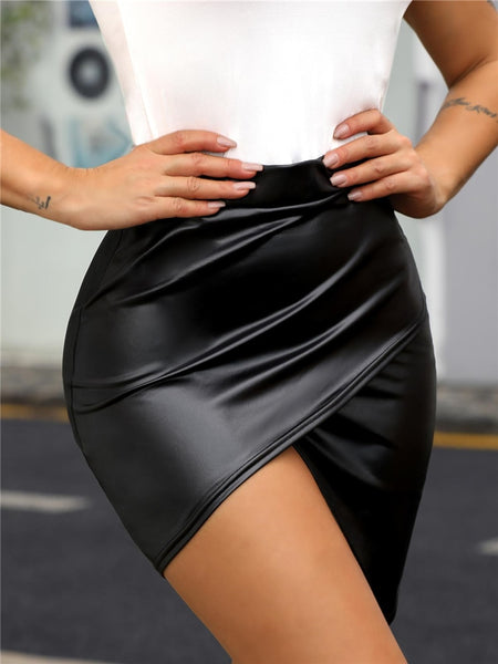 Unique Faux Leather Skirt