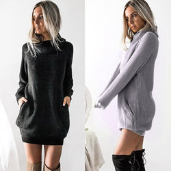 Oversized Knit Turtleneck Sweater Dress