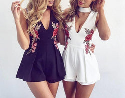 Sexy Rose Embroidery V-neck Romper Dress