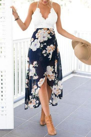 Lacey V-Neck Floral Maxi Dress - Navy