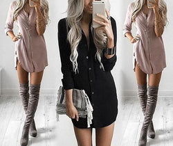 Loose Blouse Button Up Long Sleeve Dress