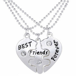 BFF Heart Necklace - 3 PCS