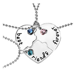 BFF Heart Rhinestone Friendship Necklaces - 3 PCS