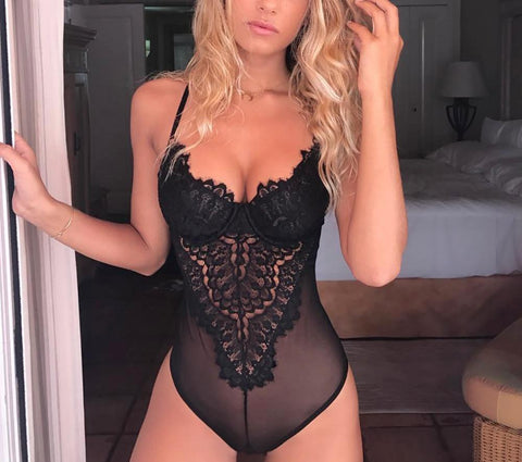 Royal Lace Tank Bodysuit Lingerie