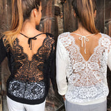 Lace Deep V Back Top