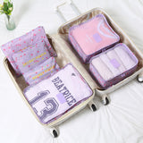 Dainty Cherry Travel Packing Bags - 6 Pcs Set