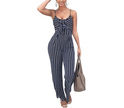 Sexy Front Bow Striped Jumpsuit