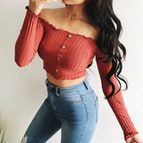 Ruffle Off Shoulder Button Up Crop Top