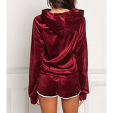 Soft Velvet Hoodie + Shorts Pajamas 2 Pcs Set