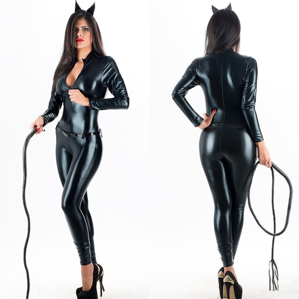 Sexy Cat Faux Leather Cat Jumpsuit Costume