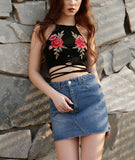 Embroidery Floral Crop Top