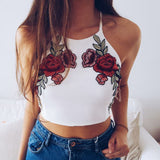 Embroidery Floral Crop Top White