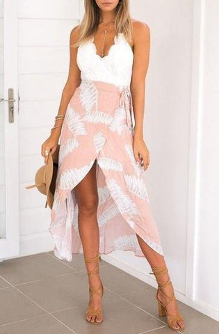 Lacey V-Neck Floral Maxi Dress - Rose