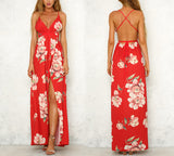 Elegant Red V-Neck Maxi Dress