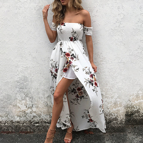 Elegant White Floral Maxi Dress