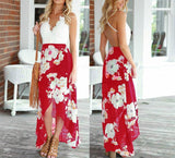 Lacey V-Neck Floral Maxi Dress - Red