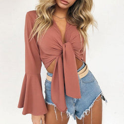 Olivia Satin Bow Tie Knot Crop Top