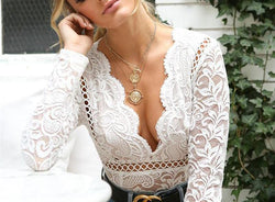 Bubble Lace V-Neck Bodysuit