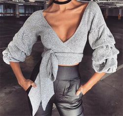 Lovely Ribbon Ruffled Sleeve Crop Sweater Top