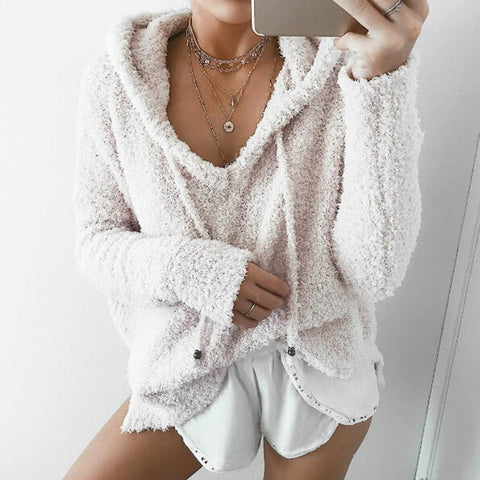 Soft Teddy Fleece Hoodie Sweater