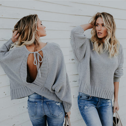 Knitted Open Back Loose Sweater