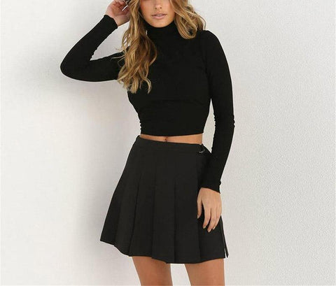 Open Back Ribbon Turtle Neck Crop Sweater