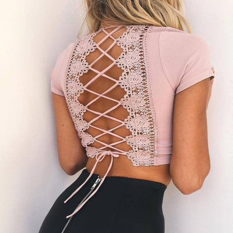 Silvia Criss Cross Lace Back Crop Top
