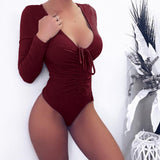 Scrunchy Ribbon Deep V Bodysuit