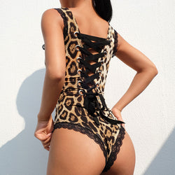 Leopard Print Criss Cross Back Bodysuit
