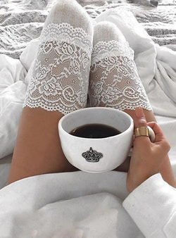 Floral Lace Striped Knee High Socks