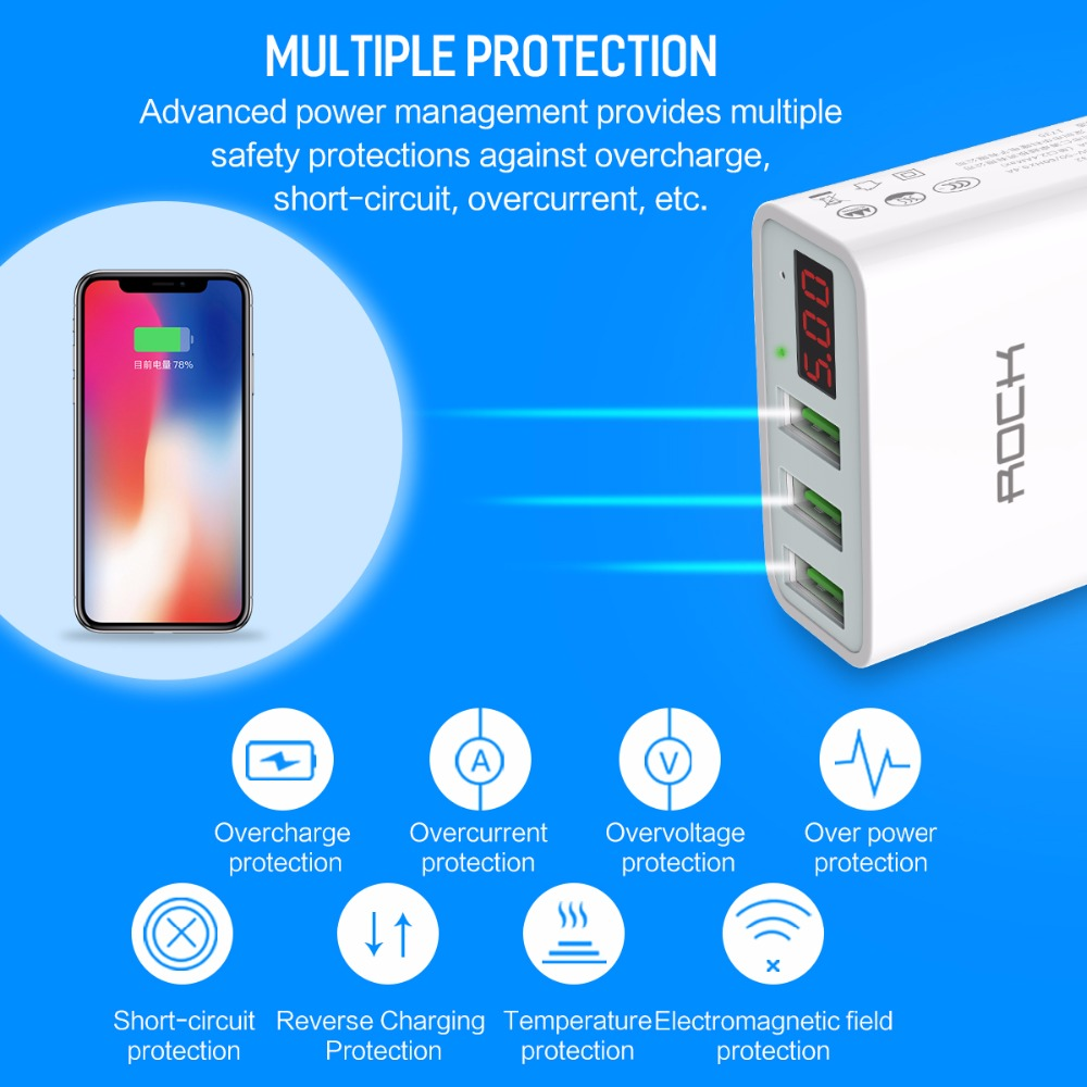 Led Display 3 Usb Charger Rock Universal Mobile Phone Wireless Datar Samsung Fast Charging Wall