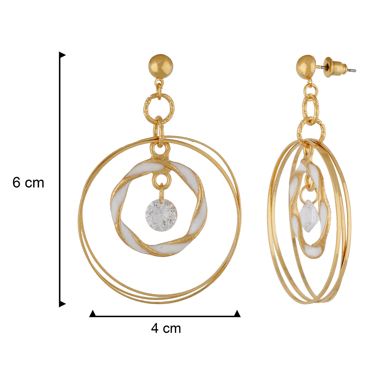 Remarkable White and Gold Colour Rings Design Earring for Girls and Women