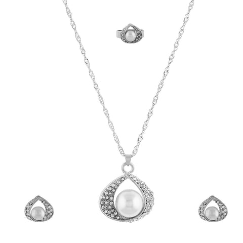 Silver Matinee  Pendant Set  With Hangings & Ring For Girls and Women