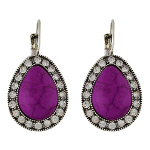 Spectacular Purple and Oxide Silver Colour Drop Shape Earring for Girls and Women
