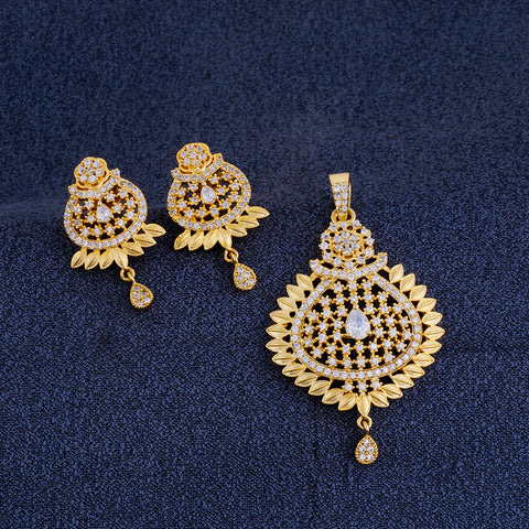 Smart Antique Gold Plated CZ Copper Pendant Set for Ladies and Girls