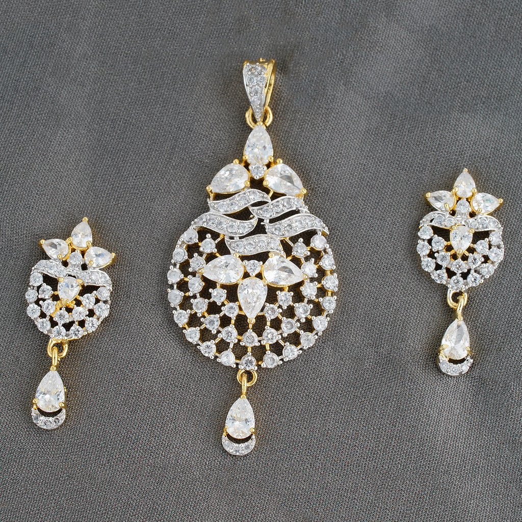 Designer gold plated cz copper pendant set for ladies and girls designer gold plated cz copper pendant set for ladies and girls aloadofball Images