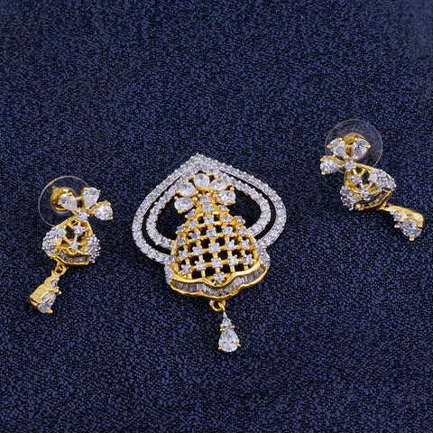 Smart Gold Plated CZ Copper Pendant Set for Ladies and Girls