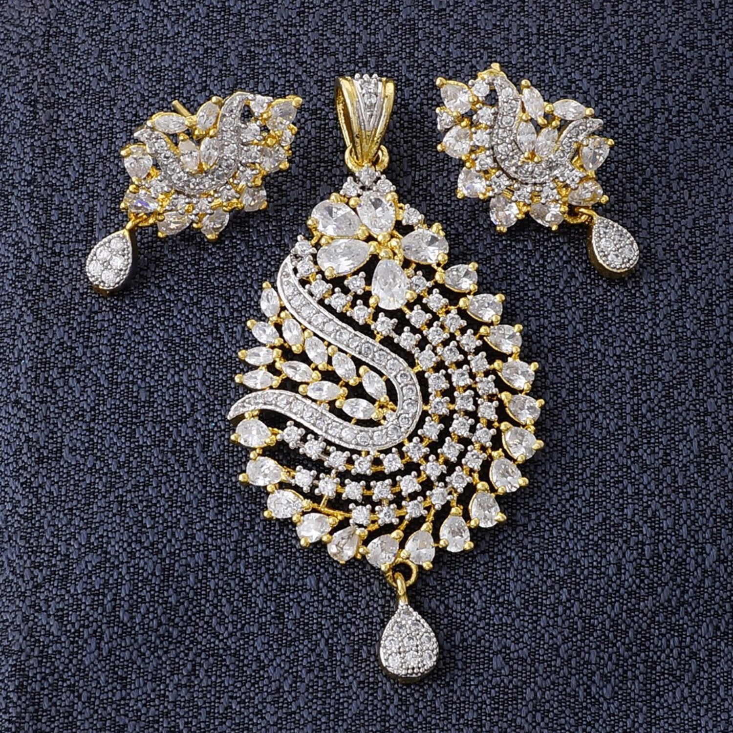 Ethnic Gold Plated CZ Copper Pendant Set for Ladies and Girls