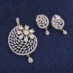 Load image into Gallery viewer, Stylish Gold Plated CZ Copper Pendant Set for Ladies and Girls