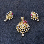 Load image into Gallery viewer, Designer Gold Plated CZ Copper Pendant Set for Ladies and Girls