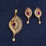 Load image into Gallery viewer, Traditional Gold Plated CZ Copper Pendant Set for Ladies and Girls