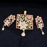 Traditional Gold Plated CZ Copper Pendant Set for Ladies and Girls
