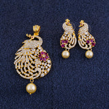 Stylish Gold Plated CZ Copper Pendant Set for Ladies and Girls