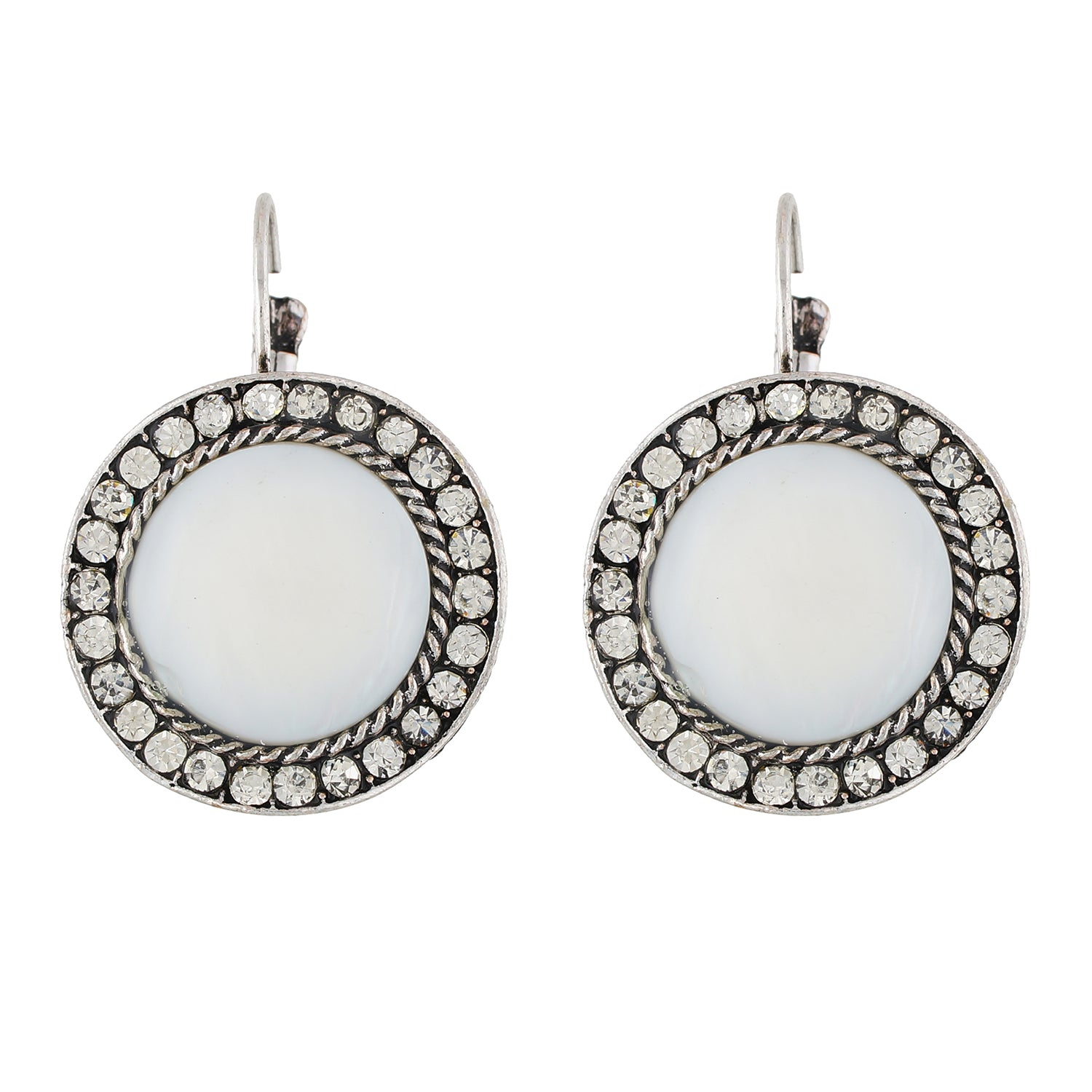 Amazing White and Oxide Silver Colour Round Shape Earring for Girls and Women