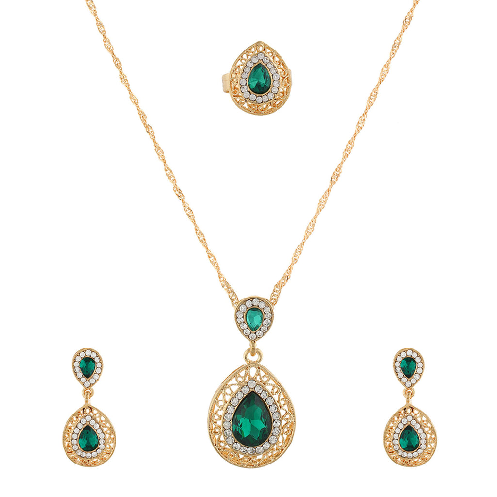 Green small  Pendant Set  With Hangings & Ring For Girls and Women