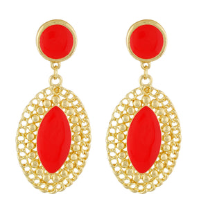 Stylish Red and Gold Colour Oval Shape Enamel Enhanced Earring for Girls and Women