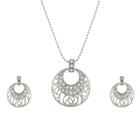 Silver colour Round design Pendant Set for girls and women
